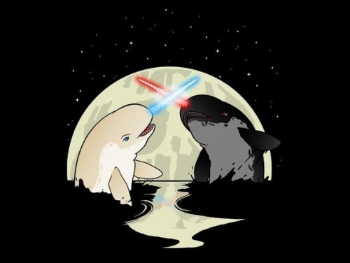"archiemcphee:  A long time ago in a galaxy far, far away…. two narwhals engaged in an epic battle. It was the beginning of the Nar Wars. Riverside, California-based artist Austin Frankel (aka Rebelart) created this awesome illustration depicting the ""Jedi of the sea"" dueling with their lightsaber horns. It's currently available for purchase as a t-shirt via Threadless. [via Geeks Are Sexy]"