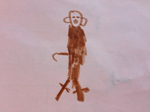 "Sam's monkey (J's classmate brought his monkey lovey to school. It looks evil but according to J the hook is the monkey's tail and the legs have ""ties not feet."")  April 2013  Jonah (age 4 1/2)"