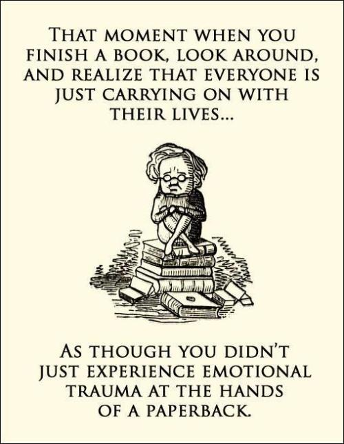 That moment when you finish a book, look around, and realize that everyone is just carrying on with their lives… as though you didn't just experience emotional trauma at the hands of a paperback.