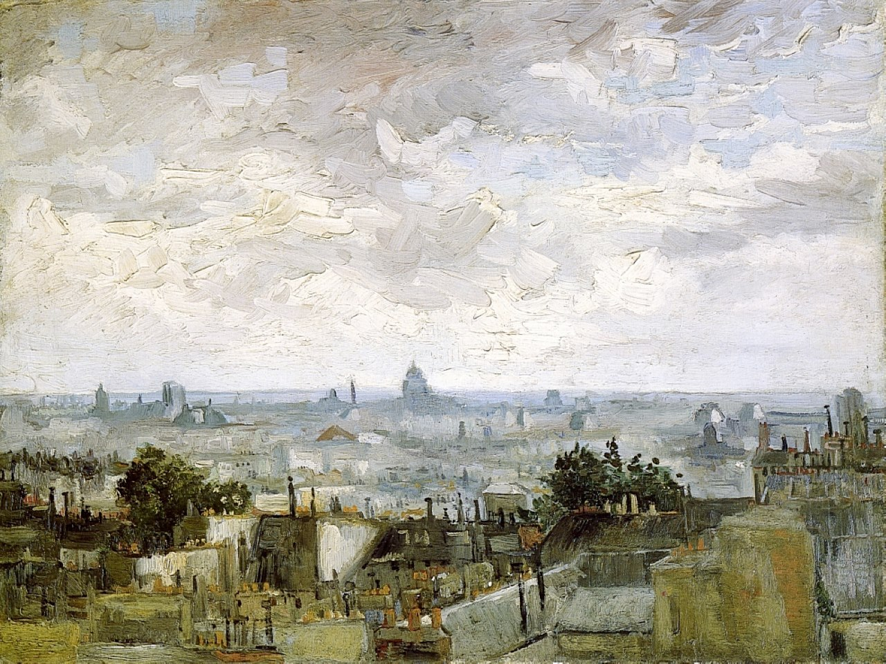 colourthysoul:  Vincent van Gogh - View of the Roofs of Paris, late Summer 1886