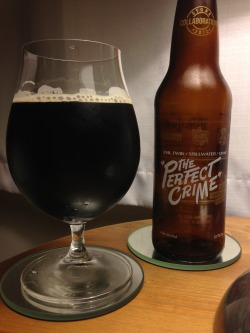 "Evil Twin / Stillwater / Stone's ""The Perfect Crime"" Black Smoked Saison. A 2 of 4. (Picked up at Whole Foods, Berkeley) I was expecting a lot more smoke - and only got a slight roastiness. Really deep color, but a relatively thin body. Some nice funk in the body and some nice yeast character, but seems a bit weird with the deep malt character and relatively high hop bitterness. Lots of interesting things going on in this, but all the disparate things going on is a bit weird."
