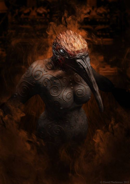 More 3d modelling practice. Demon bird lady.