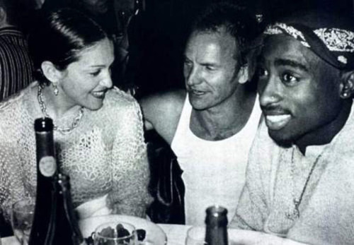 a-need-for-something-more:  Madonna, Sting, and Tupac talking at a party.
