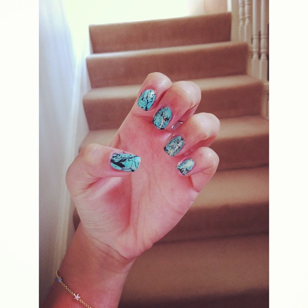 thefoodbl0g:  Turquoise inspired nails? Lol I tried - @amelialee26