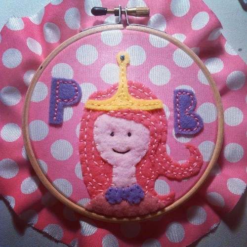 Princess Bubblegum Embroidery Hoop by *chelpanda