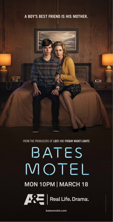 Carlton Cuse and Kerry Ehrin's Bates Motel premieres tomorrow night at 10/9c on A&E. For those with Comcast, the pilot is available on demand right now. I just watched it, and recommend you do the same either on demand or tomorrow night when it airs. With Vera Farmiga and Freddie Highmore as Norma and Norman Bates, featuring old friend Nestor Carbonell (Richard Alpert), directed by Tucker Gates, who directed 7 episodes of LOST.
