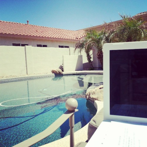 Taking advantage of this #arizona weather and doing homework by the #pool #az