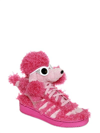 OMG! Is this crazy or what?  ADIDAS BY JEREMY SCOTT POODLE HIGH TOP SNEAKERS
