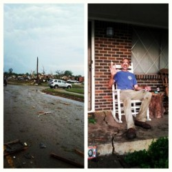 My dads street in Moore, OK and my dad safe n sound