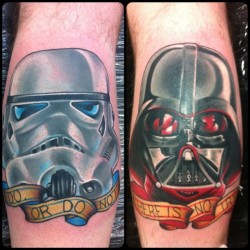 fuckyeahtattoos:  Star Wars tattoos done on each calf. I've always been a huge Star Wars fan and these seemed appropriate. My artist was Nathan at Holdfast Tattoos, Perth, Australia. Check out his instagram @nathanholdfast