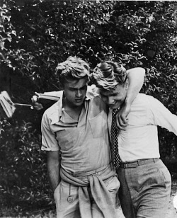 theniftyfifties:  James Dean and Richard Davalos on the set of 'East of Eden', 1955.