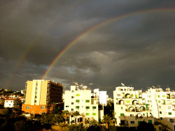 Double rainbow from the hotel balcony. Larnaca 2013.