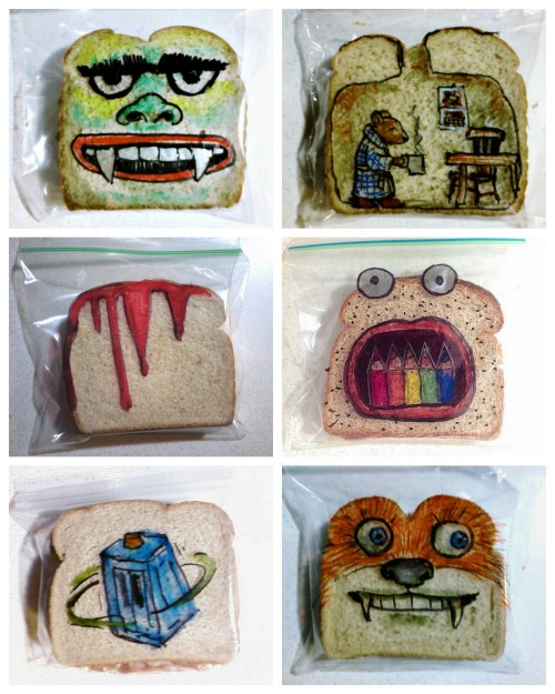 rainbowsandunicornscrafts:  DIY Drawing on Sandwich Bags with Sharpies. On Flickr there is a photoset byDavid LaFerriere where he's uploaded 1,107 photos of his sandwich bags that he drew for his children here.  For a video and feature about him on Flickr go here. First seen at SwissMiss here.  COOL! -b