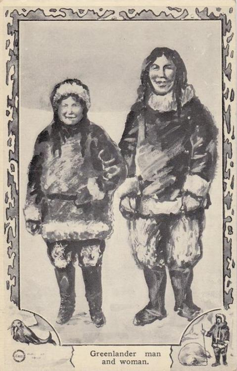 the-two-germanys:  Greenlander man and woman.Peary Expedition, promotional postcard. Early 20th century. United States of America.