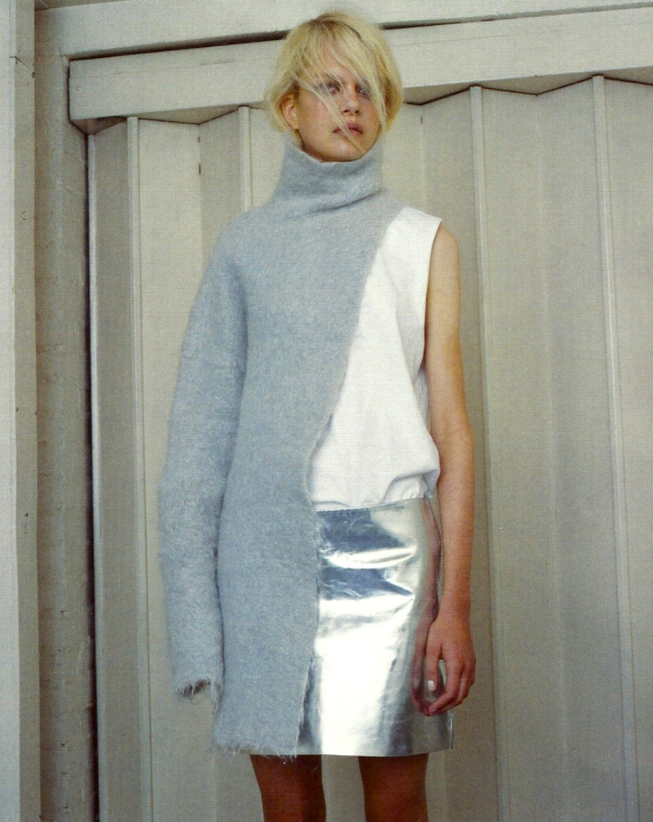 """United""SSAW, fall/winter 2012Caroline Schurch by Yann FaucherMarques'Almeida sweater, Sunspel t-shirt, Simone Rocha skirt"