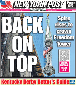 New York Post front page for Friday, May 3 2013