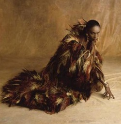 katoucha niane wearing yves saint laurent haute couture