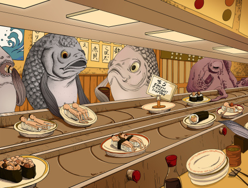 "garabating:  Daily Sushi: Guest Artist: ""Sushi Bar"" by Jiaqi He For more of  Jiaqi's work you can visit this Tumblr"