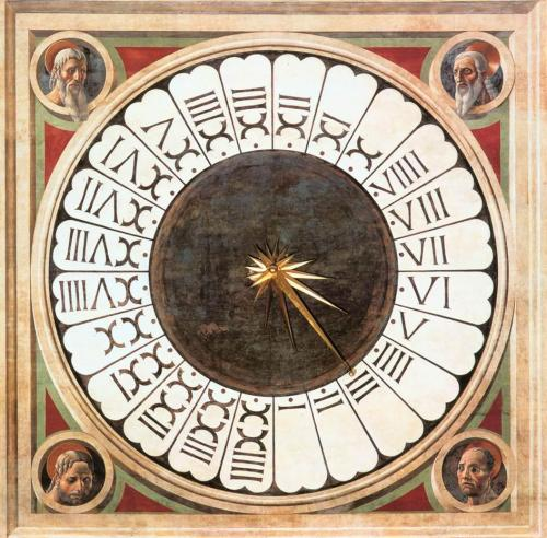 denisforkas:  Paolo Uccello - The Duomo mural. Clock with Heads of Prophets. 1443