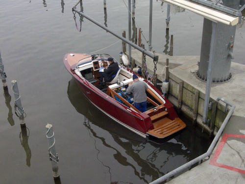 First inwater test drive of new Boesch model Sunski 625 at yard on Lake Zurich