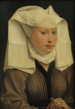 thegetty:  cookie2-2:  Rogier van der Weyden - Portrait of a Young Woman in a Pinned Hat (1435). Staatliche Museen zu Berlin, Gemäldegalerie  About the hat: it's a wimple, for the well-dressed, upper-class lady of the late Middle Ages. Here's where to get your own wimple for $26.95, should you feel so inclined.