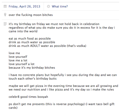 i made a facebook event for my birthday this friday i love myself