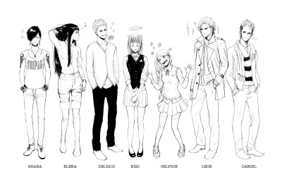 These awesome people are supposedly the rest of the characters for my previous webcomic (which I've long abandoned orz) I don't know what to do with them D: