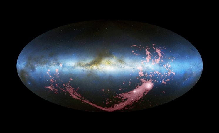 thenewenlightenmentage:  Giant Band of Galactic Gas Likely has Dual Origin  Two satellites of the Milky Way contributed to the Magellanic Stream. An enormous ribbon of gas that threads through the thinner gas of the Milky Way's halo is the result of a gravitational tug-of-war between the two Magellanic clouds, the brightest satellite galaxies orbiting our own. Continue Reading
