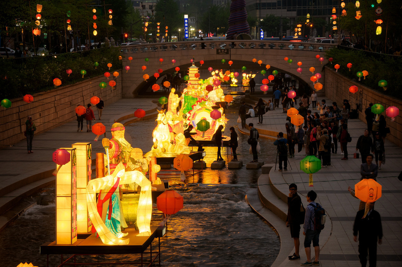 Seoul's Cheonggyecheon Stream decked out for the annual Lotus Lantern Festival. This may be the time Seoul is at its most beautiful.