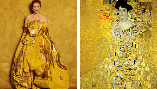 "marthajefferson:  Julianne Moore as ""Famous Works of Art"" by Peter Linderbergh - for Harper's Bazaar  Seated Woman With Bent Knee by Egon Schiele, La Grande Odalisque by Ingres, Saint Praxidis by Vermeer, The Cripple by John Currin, Les danseuses by Edgar Degas, Madame X by John Singer, Girl with a Pearl Earring by Vermeer, Woman With a Fan by Modigliani, Man Crazy Nurse #3 by Richard Prince, Adele Bloch Bauer I by Gustav Klimt."