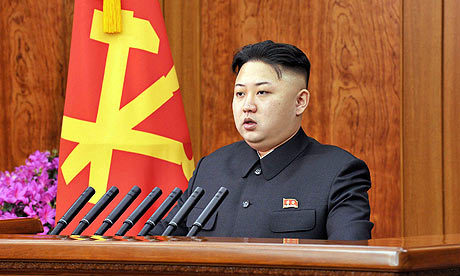 Happy new year? North Korean leader Kim Jong-un saw in the new year with an unexpected broadcast seen as reaching out to incoming president south of the border. Photograph: Kns/AFP/Getty Images