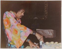 phallusifer9:  Jimi Hendrix cutting his birthday cake on November 27th, 1968.