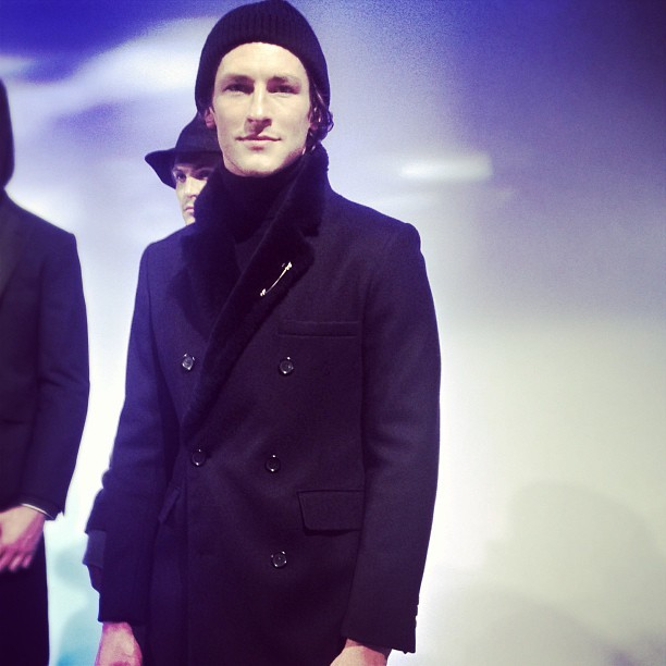 Navy topcoat shearling trim Ian Velardi on @parkergregory #wantitnow #mbfw @mbfashionweek #nyfw