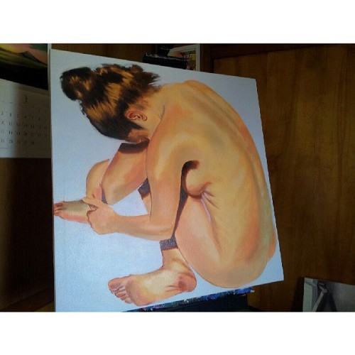 visualamor:  Still in progress. #art #figure #nude #oilpainting