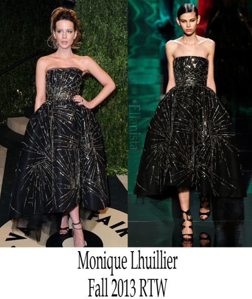 Red Carpet Fashion  Kate Beckinsale wore a  Monique Lhuillier strapless tulle dress, Jimmy Choo shoes, and Chopard jewelry at the Vanity Fair Oscar Party.