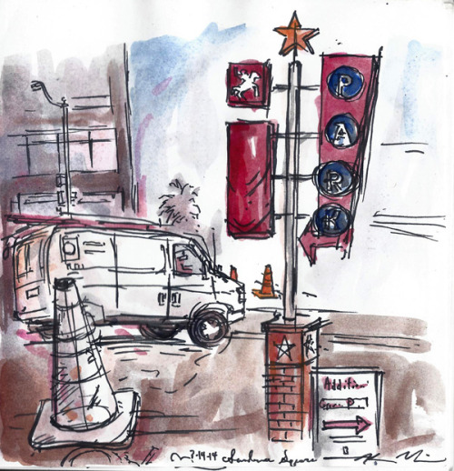 """Fourth Street, 2014. Sketchbook page, ink and watercolor on paper, 6""""x6"""". The best thing about my day job is that it features long stretches of time with nothing to do but stand around looking like a jackass. Sometimes, during said stretches of time, I draw. Shhh!"""