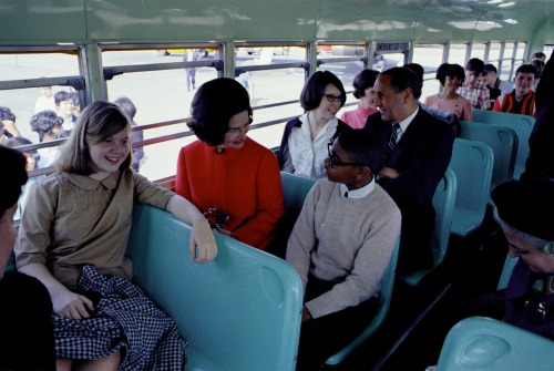 March 13, 1967. Lady Bird travels to North Carolina as part of a three-day tour publicizing the impact of the Great Society's educational components.  LBJ Library photos #C4710-20a and C4714-5A, public domain.
