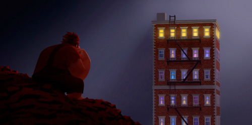 "snestrogen:  ask-nicelander-gene:   Visual Development from Wreck-It Ralph  (( Reblogging for pretty art, and especially that piece second from the top. I keep needing it and losing it. xD Also, that shows that when the game's not being played, the ""ready to play"" screen is shown. So if you were to look into Litwak's at night, you would only see blank screens. ))  lord"