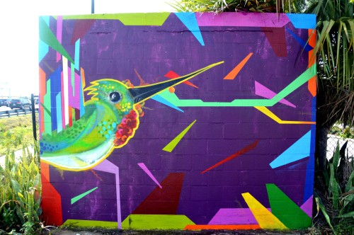Hummingbird abstract mural Ft. Pierce Florida 2013