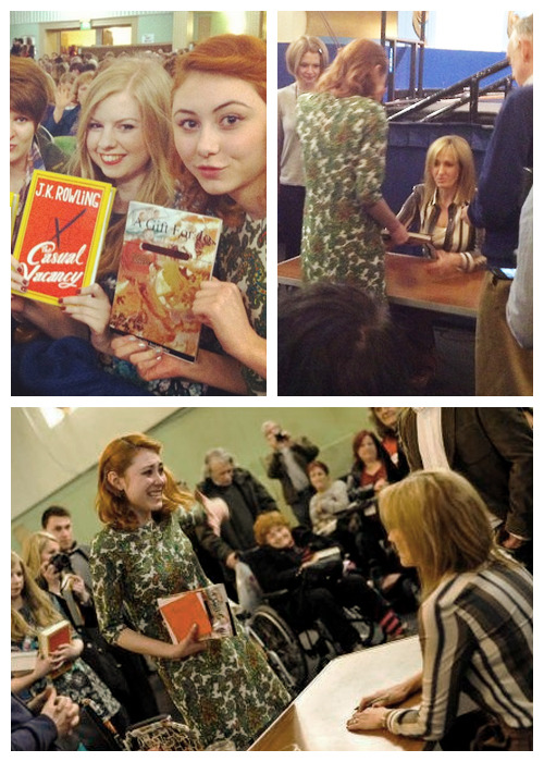 This girl Jessica made a special gift for JK Rowling. A book with messages from fans around the world. There are more than 1,500 fan messages in the book. She asked me to use one of my graphics as a cover of this book, and I said yes, of course! Last Friday, she gave the book to JKR, as you can see in the pictures above. I have to say that it was really amazing. Now I know that JKR actually saw one of the graphics I made! :D Thank you, Jessica! xx  You can check the tumblr about this gift right HERE, and the original graphic I made right HERE.