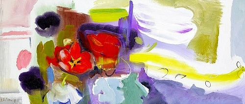 Ivon Hitchens Red, Black and White Tulips 1968
