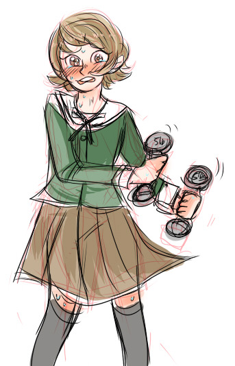 I'm trying to be strong just like you! someone requested flustered chihiro