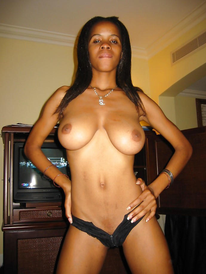 Busty ebony babe at home …