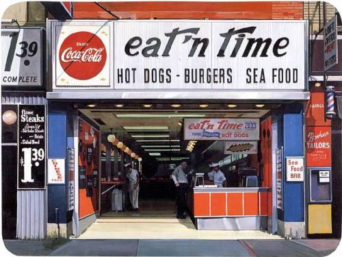 Eat'n Time New York City. Richard Estes. Oil on Masonite. 1969