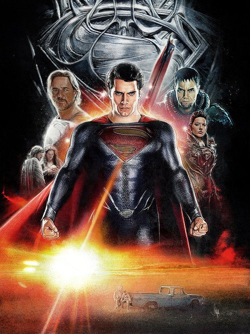 Beautiful illustrated Man Of Steel poster by Paul Shipper