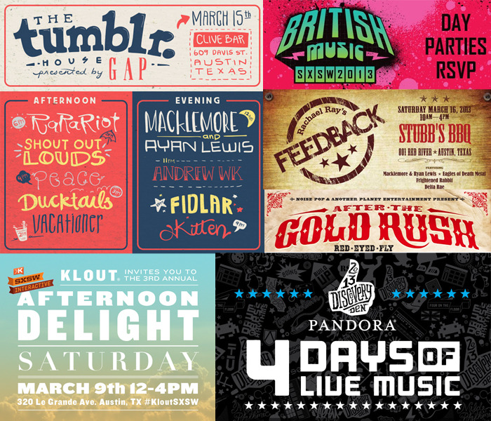 "SXSW 2013 RSVP Roundup: Part 2We're just two weeks away from SXSW mayhem, and to help fan the flames, we're dropping another batch of RSVPs on y'all today. Same deal as always: These parties should all be open to people without badges or wristbands, but some are tougher to get into than others — think Rachel Ray, Pandora, and all the Filter parties, to name a few — so make sure to show up early if you want to avoid crazy lines.In case you missed it, you can check out our first RSVP Roundup here — and for more festival tips and the full list of parties we've posted so far, swing by our special SXSW page.Stay tuned to this site, our Twitter feed, and our Facebook page for more RSVP updates, band recs and other SXSW-related goodness. Good luck out there! Multiple Days The Outlaw RoadshowSat. 3/9 and Sat. 3/16 • 8pm • Rusty's Austin, 405 East 7th St.Three stages with music by 17 up-and-coming acts, including Little Brave, Vox Pop, Tyler Stenson and others. RSVP separately for Day 1 and Day 2.The Buffalo Lounge Mon. 3/11 (3–6pm); Tue. 3/12 and Wed. 3/13 (Noon–5pm) • 512 Bar, 408 E. 6th St. Free drinks, food and music.Red Bull Sound Select Presents: 120 Hours in Austin  Tue. 3/12 through Sat. 3/16 • 7pm • Gatsby's, 409 E. 6th St.Five nights of parties — and you can help choose the openers. Full lineups TBA. (Note: Requires registration via Facebook.)Pandora Discovery Den Tue. 3/12 through Fri. 3/15 • 1pm–1am • Antone's, 213 W. 5th St.Massive lineup at this four-day series, including Macklemore & Ryan Lewis, Dead Prez, St. Lucia, The Hood Internet, Chali 2na and many others. (Note: These shows will be among the tougher unofficial parties to get into, but it doesn't hurt to get yourself on the list and hope for the best.)DTS And Slacker Present: 2013 Filter On Rainey Showcase Wed. 3/13 and Thu. 3/14 • 1–7pm; 8pm–1am • Clive Bar, 609 Davis St.Hey, it's another Filter showcase on Rainey Street! This one features Cold War Kids, Blondefire, !!!, Delorean, and others.British Music Embassy Wed. 3/13 through Sat. 3/16 • 1-6pm • Latitude 30, 512 San Jacinto St.Always a chill place to spend the afternoon and catch some fun bands from across the pond. Usually with some free food and drinks in the mix.Dr. Martens and Filter @ SXSW Thu. 3/14 and Fri. 3/15 • 3–7 pm + 9pm–1am • Bar 96, 96 Rainey St.Two days and nights of free music featuring Surfer Blood, The Thermals, Caveman, Wavves and others. (Note: Badges get bigtime priority at these Filter parties, but if you RSVP and show up early enough they'll let you in.)The Dickies House: Filter on Rainey Showcase Thu. 3/14 and Fri. 3/15 (2–7pm + 9pm–2am); Sat. 3/16 (1–6pm) • Lustre Pearl, 97 Rainey St.Another legit Filter lineup: Fitz & the Tantrums, Diiv, The Joy Formidable, Frightened Rabbit, Diamond Rings, Icona Pop, Divine Fits, Talib Kweli and others.Wuwu Fest Thu. 3/14 through Sun. 3/17 • 2pm–2am • Wuwu Sushi, 1407 East 7th St.Free sushi and music by Why?, Wild Child, The Ton Tons, Letting Up Despite Great Faults, The Baker Family, and others.Thursday, March 7BIG BASHH (Big Ass Social Happy Hour) 7pm–2am • The Ranch, 710 West 6th St.Relaxed mixer with free drink tickets for those who get there early enough.Friday, March 8Ignite Social Media Party7–10pm • Molotov, 719 West 6th St.Free drinks and BBQ sandwiches. The RSVP password is: IgniteinsiderSaturday, March 9Yammer Meet-Up 10am–6pm • Hangar Lounge, 318 Colorado St.Tech industry hangout with free beverages and music.SXSW Food Crawl 2013 Noon–2pm • Meets at the Terrace of the Long Center for Performing Arts, S. 1st St. at Riverside DriveJoin a swarm of food bloggers as they bounce around between various downtown eateries. Schedule TBA.Klout Afternoon Delight LuncheonNoon–4pm • Klout Krib, 320 Le Grande Ave. (off East Riverside)Food, libations, and music.    MySearchNetwork.com SXSWi Local Throw-down Show-down 2013 Noon–5pm • Darwin's Pub, 223 E 6th St.Free local food, beer and tequila, with live music and DJs.Sunday, March 10Whole Planet Foundation's Unofficial Showcase 11am–7pm • Whole Foods, 525 N. Lamar Blvd.Wine, beer and snack ""samples"" plus a solid lineup with local faves Quiet Company, What Made Milwaukee Famous, O Conqueror, The Preservation, and others. Proceeds support The Whole Planet Foundation's global programs.SF MusicTech Happy Hour 5–7pm • Conduit Corner, 7th & CongressHappy hour with free food.Techweek Chicago Party 8pm–Midnight • The Copa Bar & Grill, 217 Congress Ave.Open bar, 312 Beer, Chicago-style hot dogs, and live music. Interactive badge-holders get priority, but they'll admit people from the guestlist on a first come, first served basis.Monday, March 11Gigya Grill Happy Hour 3–5pm • Copa Bar & Grill, 217 Congress Ave.Techie happy hour w/ complimentary drinks and food. (Note: This Eventbrite is just a request for an invitation; they will email you to confirm later.)COHO 5.0 6–10pm • Hudson on 5th, 301 West 5th St.Free drinks, food, treats from GoodPop, photobooth, music and more.Tuesday, March 12Reeperbahn Festival Stage 3–5pm • German Haus @ Icenhauer's, 83 Rainey StreetFree beer (possibly only for badgeholders) and German bands.Wednesday, March 13Consequence of Sound's Cosigns II 11:30am–6pm • The Parish Underground/ Beale St. Tavern, 214 E. 6th St.Lineup is still TBA, but this is always a good show, so get your RSVP in now.Bands, Beer, and Burgers Vol. 2 Noon–6:30pm • Hostelling International, 2200 S. Lakeshore Blvd. (off Riverside)Free local beer from Live Oak Brewing and Hops & Grain. Burgers for sale. Music by Bobby Jealousy, Burgess Meredith, and others.Thursday, March 14The Midgetmen's Texas Jumpstart 6 Noon–5:30pm • Side Bar, 602 E. 7th St.Complimentary beverages. Music by The Midgetmen, Paws, Hounds Below, and others. More details coming soon.We Listen For You / sonaBLAST! Records Unofficial SXSW Party Noon–7pm • Kenny Dorham's Backyard, 1106 E. 11th St.Free show featuring Royal Bangs, Miracles Of Modern Science, Et Tu Brucé, and an acoustic set by Rod Argent and Colin Blunstone of The Zombies, plus many others.Friday, March 15After The Gold Rush Noon–6pm • Red Eyed Fly, 715 Red River St.Nice lineup featuring Youth Lagoon, Surfer Blood, Poolside, Caveman, Bear Mountain and some other buzzy folks. Sponsored by Heineken and Hophead Vodka.The Tumblr House: Filter on Rainey Showcase 2–7pm and 9pm–2am • Clive Bar, 609 Davis St. Another chapter in Filter's blitzkrieg takeover of the Rainey Street district, this shindig features the likes of Ra Ra Riot, Vacationer, Macklemore & Ryan Lewis, Andrew WK, Kitten, and a handful of other cool peeps.Saturday, March 16Rachel Ray Feedback Party 10am–4pm • Stubbs Music by Macklemore & Ryan Lewis, Eagles of Death Metal, Frightened Rabbit, Delta Rae and others. Free food and drinks, too, but only if you're willing to stand in the longest line at SXSW. Seriously — get there as early as possible.Good Danny's Day Party 10am–6pm • The Parish / The Parish Underground, 214 East 6th St.Free drinks, food and giveaways from Tito's Vodka, East Side Pies and Progress Coffee.Pop Montreal Day Party Noon–6pm • Liberty, 1618-1/2 East 6th St.Free drinks if you get there early enough. Music by Bernie Worrell Orchestra, Pat Jordache, Sinkane and others.Heard about any cool events you don't see on the list yet? Shoot us an email and let us know!"