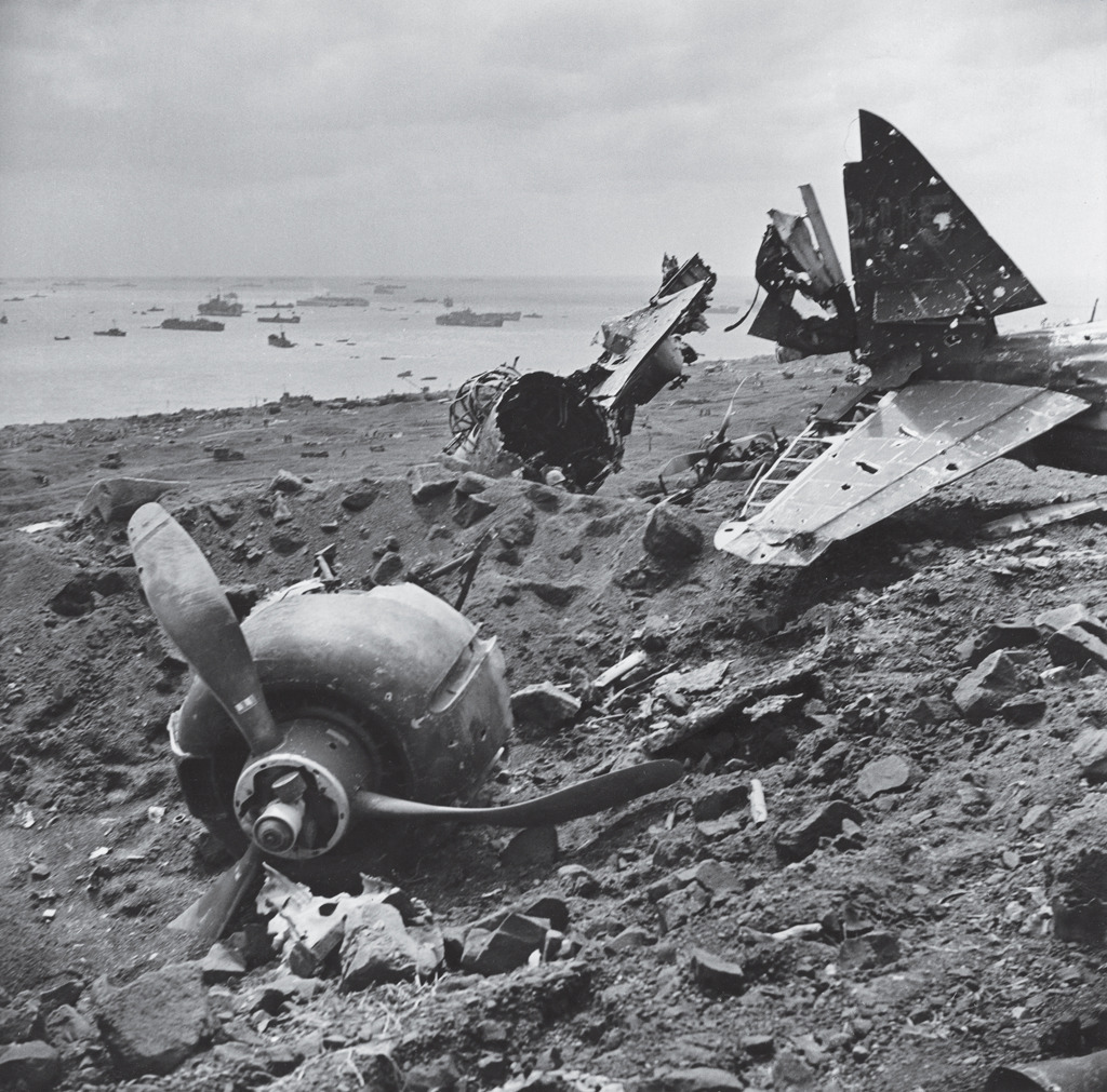 An exemplar of a bitter, grueling land battle, Iwo Jima also saw prodigious air and sea power brought to bear as American and Japanese troops clashed over control of the tiny Pacific island. American forces finally captured Iwo Jima — and its two strategic airfields — in late March, 1945. Photo by W. Eugene Smith—Time for Life Pictures/Getty Images.