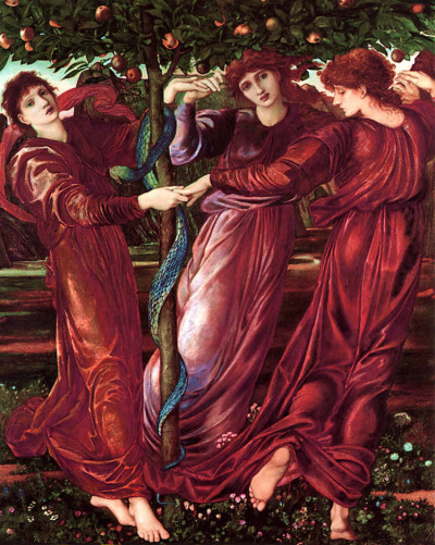 theimagesinherhead:  Room 2: The Garden of Hesperides, Edward Burne-Jones, 1870-73This beautiful Burne-Jones work hangs on a wall in Florence's wonky staircase (I'm assuming it's a print of the original)! The Pre-Raphaelites (my all-time favourite group of artists) worked in 19th century Britain. The group drew inspiration from a plethora of ancient myths, such as the story of the garden of Hesperides.In Greek Mythology, the Hesperides are three nymphs who dwell in a beautiful garden which they tend to in a 'far western corner of the world' (wiki). The garden was said to belong to Hera, one of Zeus's sisters. Gaia gave Hera apple branches as a wedding gift which she planted in the garden. The nymphs were chosen to look after the orchard. Hera suspected that the nymphs were eating some of the apples themsleves, so she placed a dragon in the garden to watch over the orchard. Burne-Jones has depicted the dragon as a snake, drawing close parallels to the Adam and Eve story. It could be said that Burne-Jones was making a comment on the religious tensions inherent in the Victorian era. It's such a fantastic painting.Florence's first album, Lungs, was heavily influenced by Pre-Raphaelitism. Can't you just picture Florence as one of those nymphs, dancing around a garden with her long dress flowing playfully in the wind? (Florence Welch House Series)