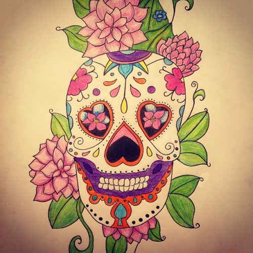 #SugarSkull #Drawing #Illustration #Colour #Tattoo