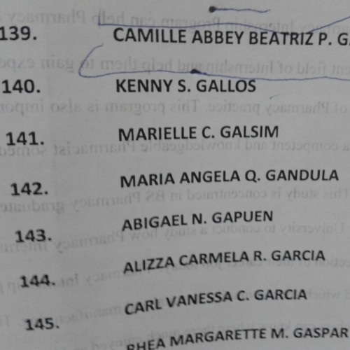 Last march 23, 2013. The school of pharmacy posted the official list of candidates for graduation. And fortunate ly, my name was there! Yehey! :) #141   So see you at the manila hotel baby! Mark your calendar fellas! It's april 10!  See you there! ♥